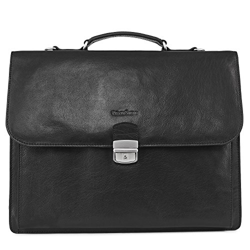 FEYNSINN XL large briefcase - man dispatch work bag EMILIO fits 15.4 inch laptop iPad | laptop bag with shoulder strap men´s bag black leather | PREMIUM-QUALITY by FEYNSINN