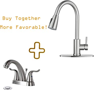 Kitchen Sink Faucet With Pull Down Sprayer Single Handle And Bathroom Faucet 2 Handle Wowow Amazon Com