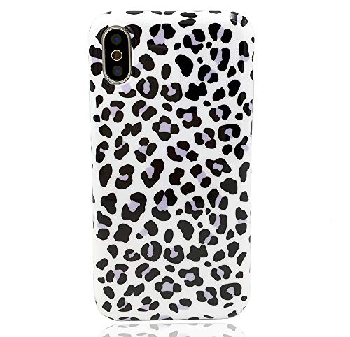 - HUIYCUU Case Compatible with iPhone Xs Case, Slim Fit Black Leopard Print Design Soft TPU Floral Pattern Shockproof Thin Protective Girl Women Bumper Back Cover for iPhone X, Purple White