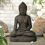 John Timberland Sitting Buddha 29 1/2' High Dark Sandstone Outdoor Statue