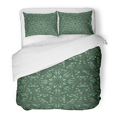 SanChic Duvet Cover Set Green Oriental Design Ethnic Abstract Arabian Arabic Ceramic Circular Decorative Bedding Set with 2 Pillow Shams Full/Queen Size by SanChic
