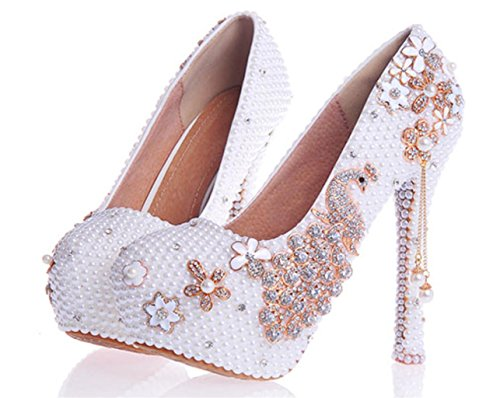 36 Party White Evening Bride Good Quality Womens Heel 14cm High Wedding Pearl Court MNII Shoes Crystal Platforms Rhinestones Bridesmaids w16qpHz