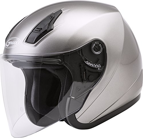 GMAX OF-17 Adult Solid Open-Face Motorcycle Helmet - Titanium / Medium