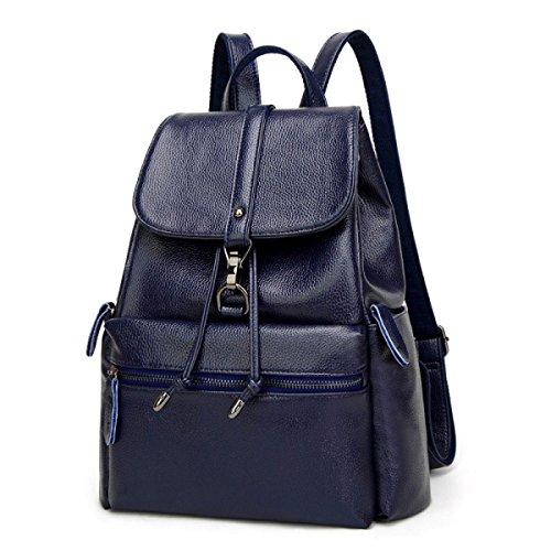 Mochila De Cuero Lady 2018 New Leather Backpack College Bag Mochila De Viaje Casual Negro Azul Blue