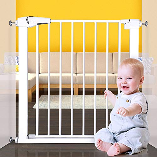 EAVSOW Safety Baby Gates, Extra 29.5 -54 Wide and 30 Tall,Steel Pet Gate Pet Safety Gate,Easy Step Walk Thru Baby Gate with Pressure Mount kit,White