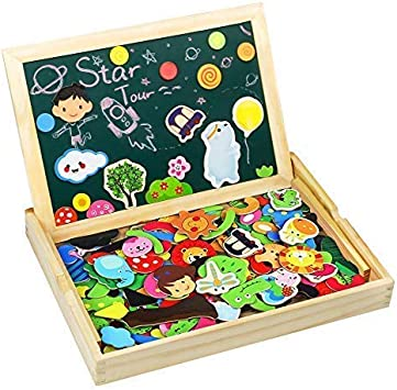 TONZE 175 Piezas Puzzles Pizarra Magnético Niños Caja Madera ...