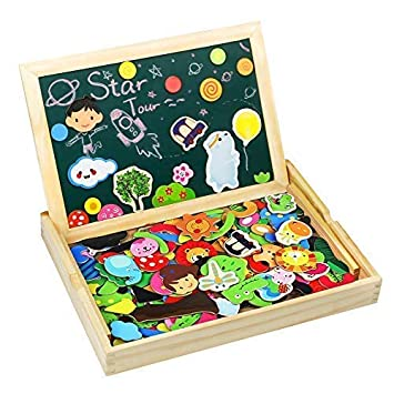 TONZE 175 Piezas Puzzles Pizarra Magnético Niños Caja Madera Rompecabezas Infantil Educativo Montessori Juguetes Puzzle Tablero de Dibujo de Doble ...