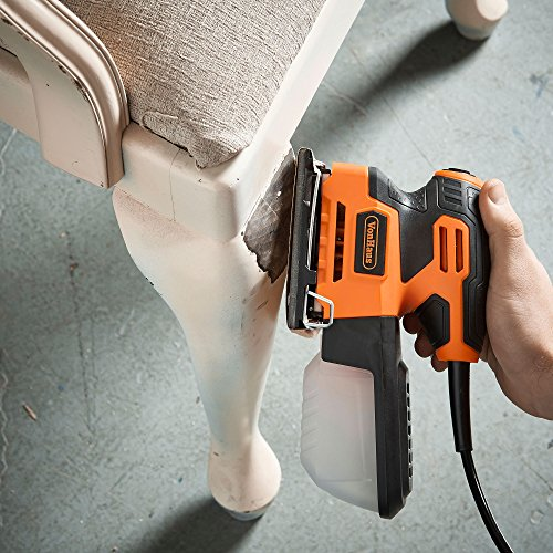 VonHaus 2.2 Amp 1/4 Sheet Palm Sander Kit with 15000 RPM, Fast Clamping System, Dust Collector and 5 Sandpaper Sheets - Ideal for Detailed Sanding by VonHaus (Image #2)