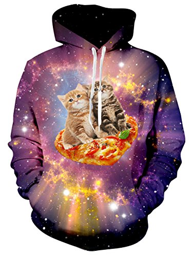 RAISEVERN Mens Galaxy Pizza Cat Print Casual Sports Gym Hooded Pullover Sweatshirt