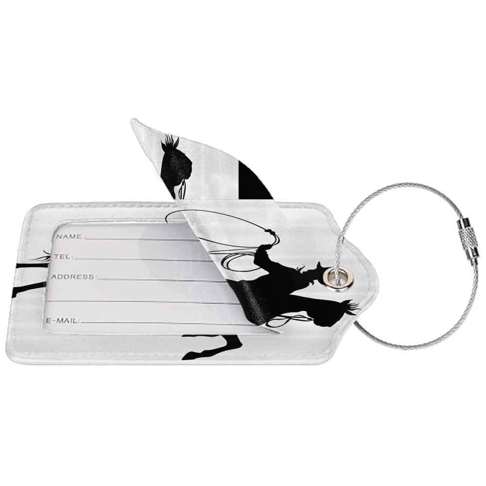 Durable luggage tag Cartoon Decor Collection Cowboy and Horse Silhouette Man with Hat Shadow Texas Rural Image Print Unisex Black and White W2.7 x L4.6