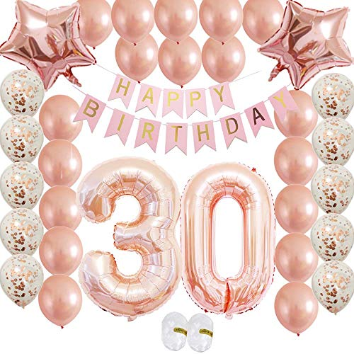 Cheeringup Rose Gold Vintage Happy 30th Birthday Decorations Banner with Confetti Latex Balloons Kit as Gift for Women,Men, Her Girl,Him,Backdrop, Party Supplies,Table,Photo Props -