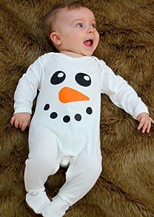 Baby Boys Girls Long Sleeve Christmas Striped Red Nose Reindeer Romper Jumpsuit