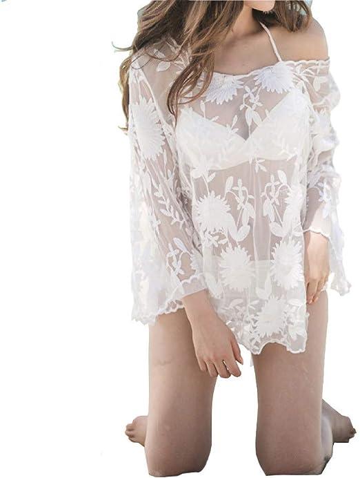 Blusa De Bikini Blanco Calado De Crochet Para Mujer Falda De Playa ...