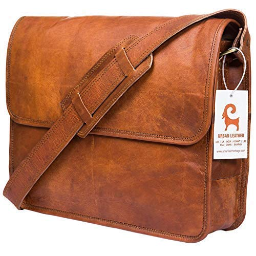 Urban Leather Messenger Bags for Men & Women New Job Gifts for Teen Boys - Laptop Shoulder Bag - Office Work Briefcase for Executives Crossbody Fit - Flap Over Vintage Brown Satchel Bag Size 15 inch ()