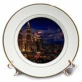 3dRose Cities Of The World - Petronas Twin Towers In Kuala Lumpur, Malaysia - 8 inch Porcelain Plate (cp_268654_1)