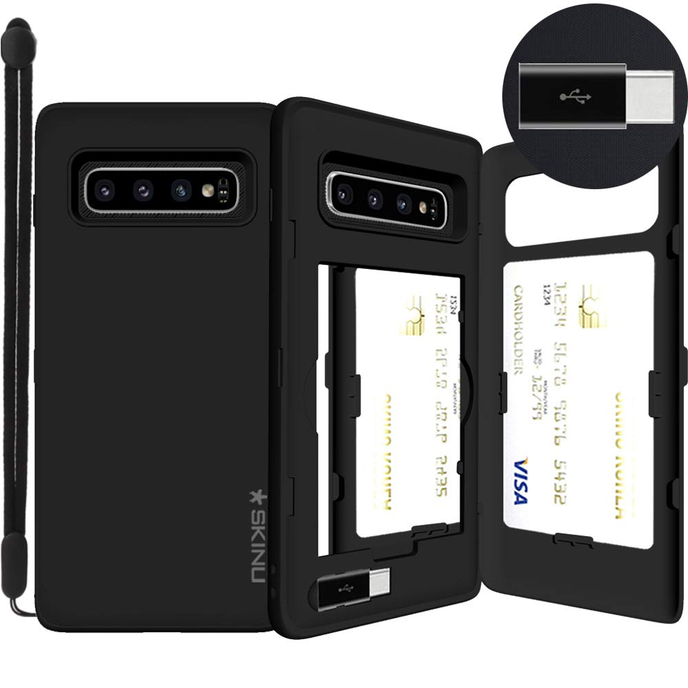 Galaxy S10 Plus, SKINU [Galaxy S10+ Wallet] S10+ Charger Dual Layer Hidden Credit Holder ID Slot Card Case with Wrist Strap Inner USB Type C Adapter and Mirror for Galaxy S10 Plus (2019) - Black