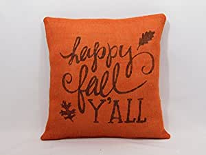 "UOOPOO Square Fall/Thanksgiving ""Happy Fall Y'all"" Burnt Orange Burlap Pillow Cover With Brown Print 16 x 16 Inches"