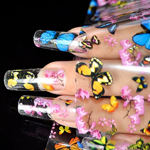 Nail Art Transfer Foil Stickers Decorations Decals Plastic Nail Tools Colorful Flying Butterflies Begonia Flowers Design NO GLUE 653 ()