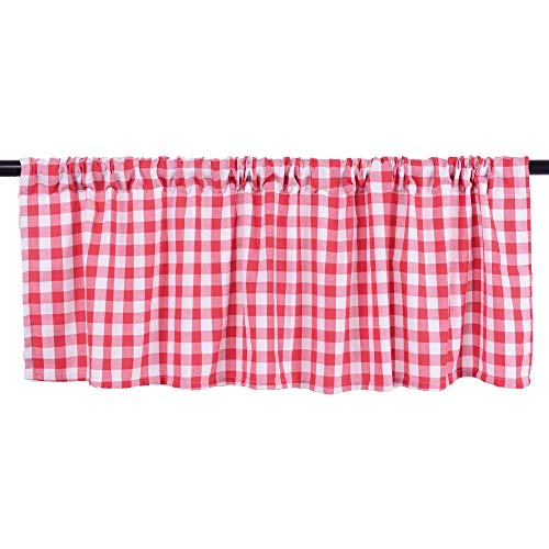 HTFD Red and White Buffalo Check, Window Valance, for Kitchen, Living Room, 72x16inch, Pack of 2 (Nook Ideas Breakfast Country)
