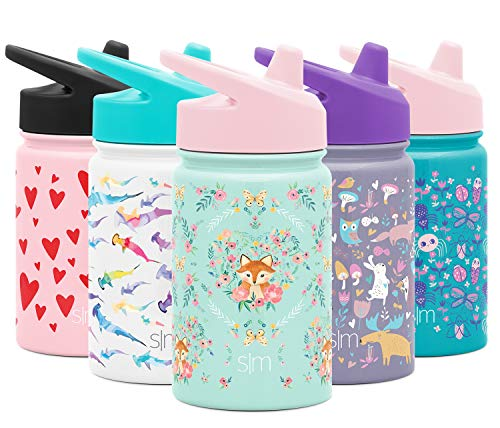 Simple Modern Kids Summit Sippy Cup Thermos 10oz - Stainless Steel Toddler Water Bottle Vacuum Insulated Girls and Boys Hydro Travel Cup Flask -Fox and The Flower