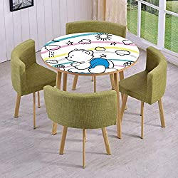 iPrint Round Table/Wall/Floor Decal Strikers,Removable,Children Kids Theme Cute Doodle Toy with Clouds Sun Moon and Houses Colorful Stripes Decorative,for Living Room,Kitchens,Office Decoration