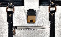 ZipperNext Croc Design Premium Genuine Leather Messenger Bag for 15.6'' Laptop Briefcase Bag for Women, White