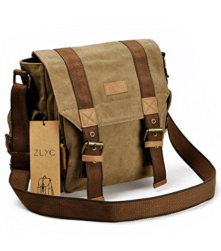 Bolso de lona de mensajero, bolso de hombro de vendimia, bolso militar de cuerpo cruzado, mochila Trim de cuero de iPad Air Satchel para hombres