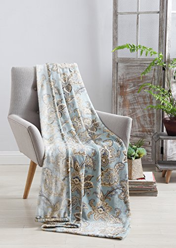 Country Chic Decorative Throw Blanket: Blue Floral Paisley F
