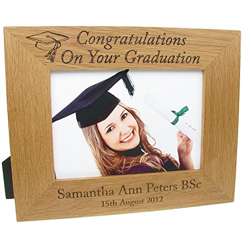 graduation gift personalised laser engraved oak graduation photo