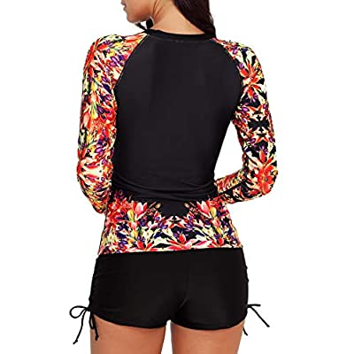 YUNAR Women Long Sleeve Sun Protection Rash Guard 2 Pieces Swimsuit Set at Women's Clothing store