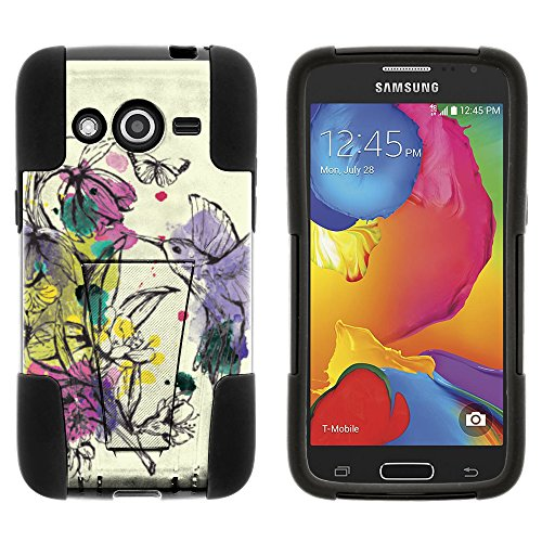 MINITURTLE Case Compatible w/ Galaxy Avant Case, Fusion STRIKE Impact Stand Case w/ Exclusive for Samsung Galaxy Avant SMG386T (T Mobile, MetroPCS) Hummingbird Flowers