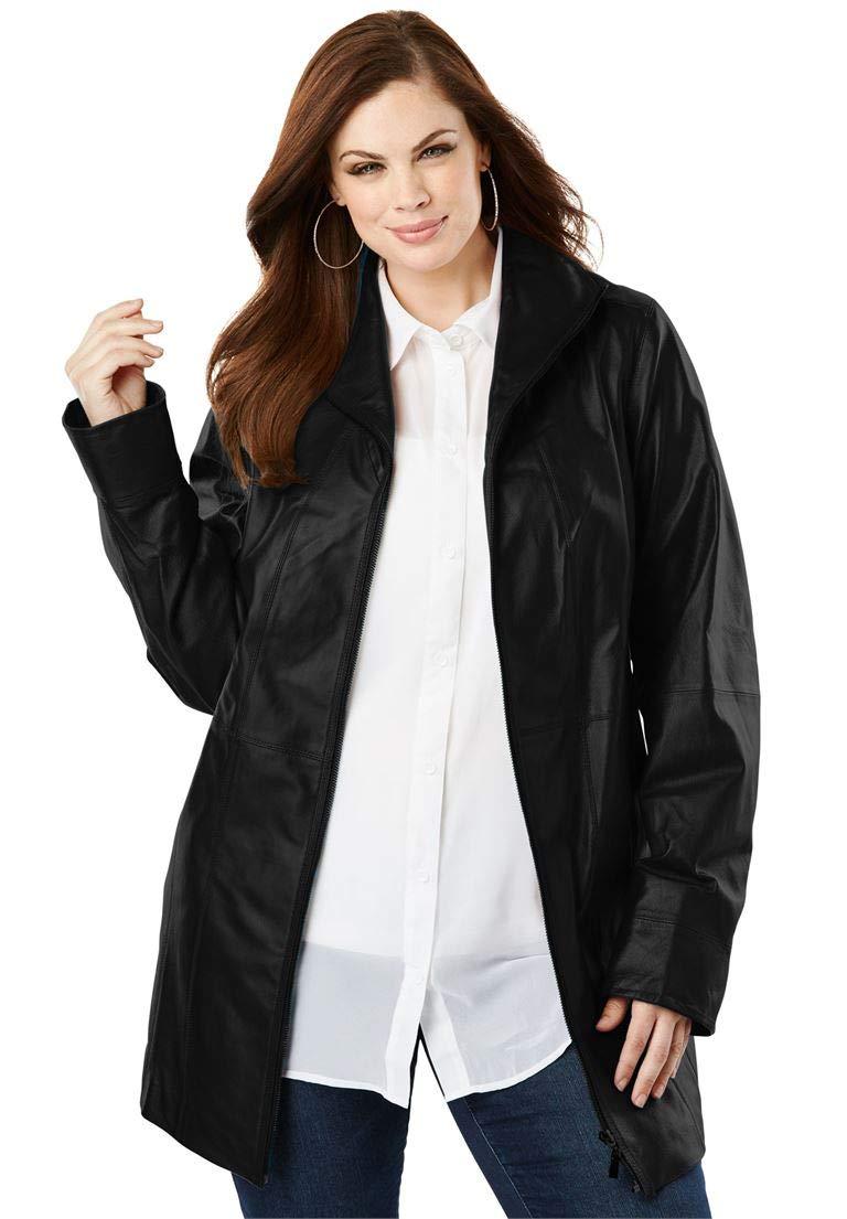 Roamans Women's Plus Size A-Line Leather Jacket