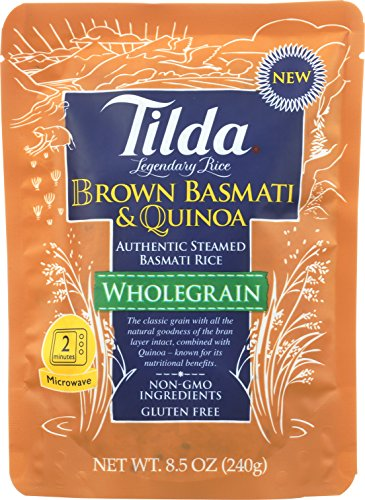 Tilda Legendary Rice Steamed Basmati, Brown & Quinoa, 8.5 Ounce (Pack of 6)