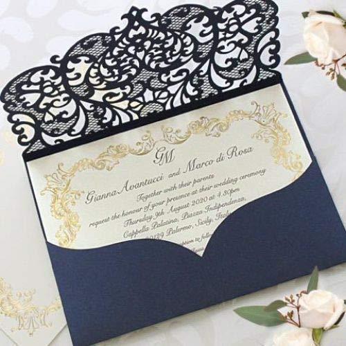 Elegant Invitation Cards Laser Cut Navy Blue Pocket Wedding