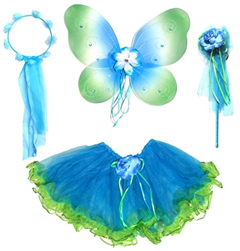 Girls Blue and Green 4 Piece Fairy Costume with Rose Buds, Halo and Wand (4 Piece Fur Costume)