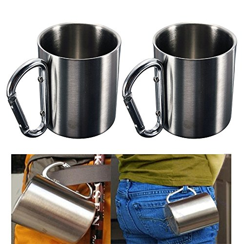 2 Pc Portable Cup 8oz Stainless Steel Camping Carabiner Mug Thermal Hook (Stainless Steel Carabiner Mug)