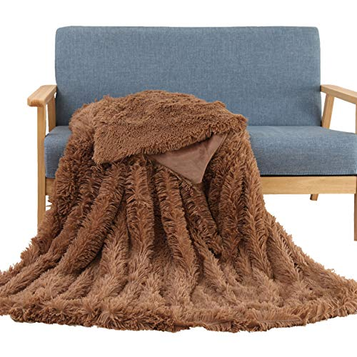 Cheap Soffte Cloud Faux Fur Throw Blanket Super Soft Fuzzy Weighted Luxurious Cozy Warm Fluffy Plush Hypoallergenic Blanket for Bed Couch Chair Fall Winter Spring Living RoomLight Brown (63