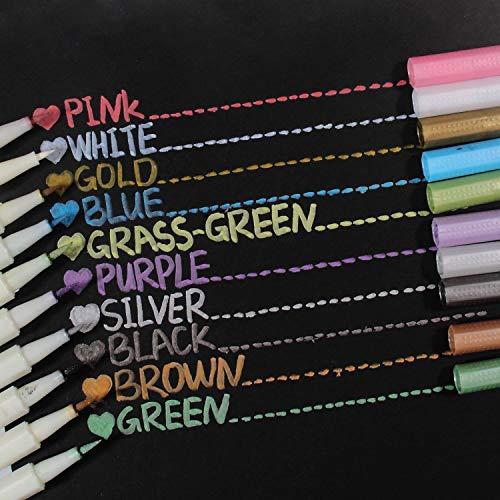 Metallic Markers Glitter Paint Pen Calligraphy Brush Pens, Ohuhu Set of 10 for DIY Birthday Greeting Gift Thank You Card, Scrapbook Photo Album, Rock Art Painting, Brush Tip Back to School Art Supply by Ohuhu (Image #7)