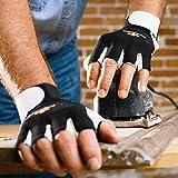 Impacto Anti-Vibration Gloves, Pearl Leather Palm Material, Black/White, L, PR 1 - BG401L
