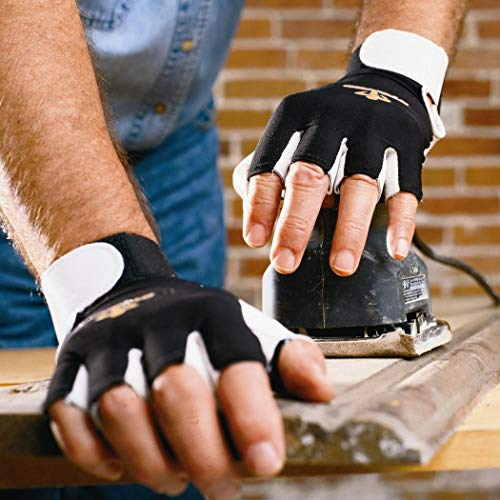 Impacto Anti-Vibration Gloves, Pearl Leather Palm Material, Black/White, L, PR 1 - BG401L by Impacto (Image #1)