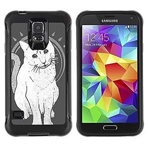 Hybrid Anti-Shock Defend Case for Samsung Galaxy S5 / Mystical Three Eye Cat