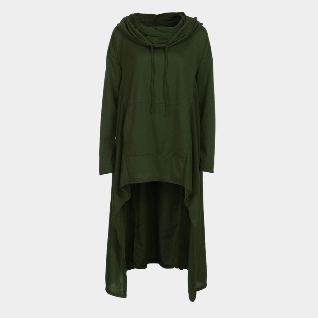 Rambling New Women's Pullover Irregular Hem Long Drawstring Loose Hoodie Top Dress by Rambling (Image #5)