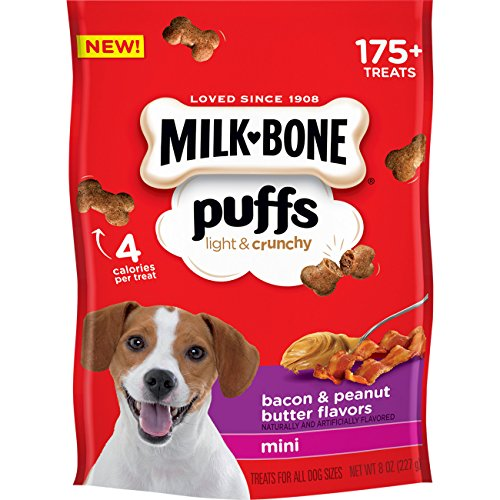 Bones Bacon Treat - Milk Bone Puffs Peanut Butter And Bacon Mini Dog Treats, 8 Oz (Pack Of 4)