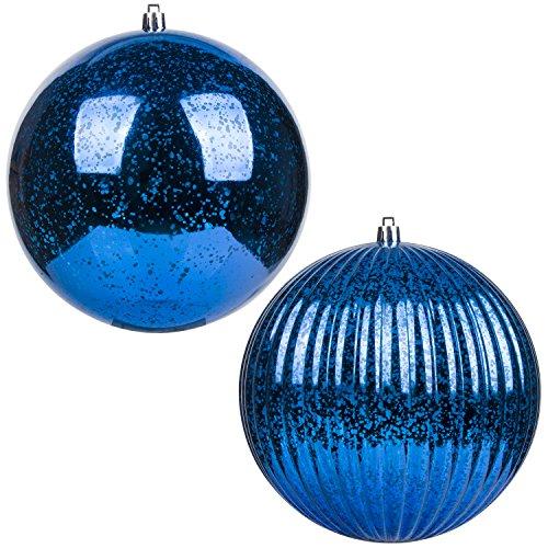 "KI Store Christmas Ball Ornaments Hanging Tree Ornament Decorations 6"" Super Large Shatterproof Vintage Mercury Balls(Royal Blue) ()"
