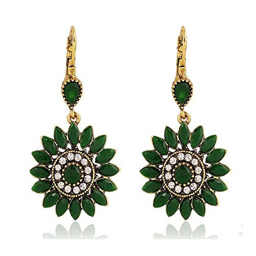 [Luck Wang Lady's Unique Retro Bohemian National Style Sunflowers Earrings(Green)] (China National Costume Name)