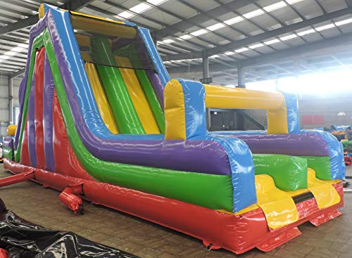 - TentandTable 40-Foot Long 11-Foot Wide 19-Foot Tall Mega Rock Climb Slide, Retro Rainbow Colored, Commercial Inflatable Backyard Bouncer Obstacle Course, Bundle Stakes 1.5 HP Zoom Blower