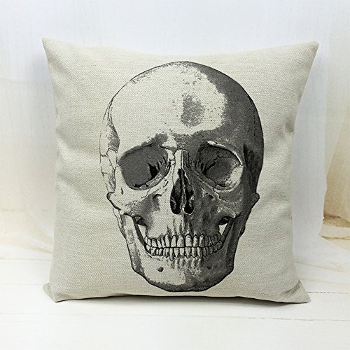 Decorative Skulls (SLS Cotton Linen Decorative Throw Pillow Case Cushion Cover Skull head 18