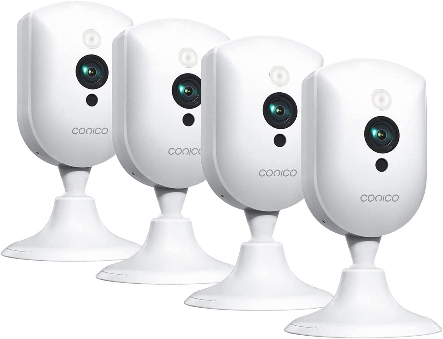 Conico Baby Monitor,1080P HD Home Security Cameras with 8X Zoom,Motion and Sound Detection,Indoor Surveillance Camera with Night Vision,Dual Storage,IP Camera for Baby,Pet,Elders(4 Packs)