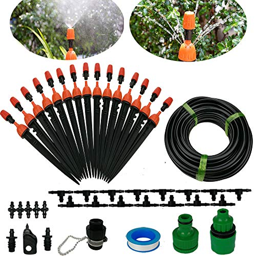 Drip Irrigation System DIY 50FT Micro Dripper Sprinkler Plant Irrigation Kit Irrigation Pipe, Irrigation Spray for Flower, Lawn, Patio, Garden Greenhouse Plants ()