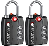 Spartan Travel TSA Approved Zipper Locks - Combination Security Padlocks for Luggage, Backpacks, Pelican Cases, Briefcases, Security Cables, Gym Lockers and Suitcases - Prevents Theft (black 2-pack)